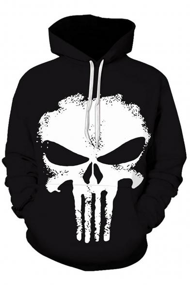 Fashionable Skull Print Long Sleeve Drawstring Hood Pocket Hoodie