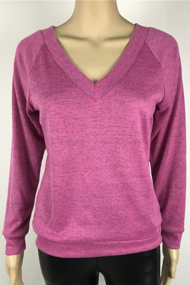 Long Sleeves Sweater Fabric Warm V Neck Leisure Pullover Casual xzTIqvn