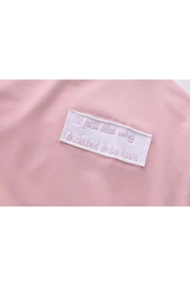 Tie Sweatshirt Letter Round Neck Pattern Long Color Pullover Block Sleeve OSxxTtwz