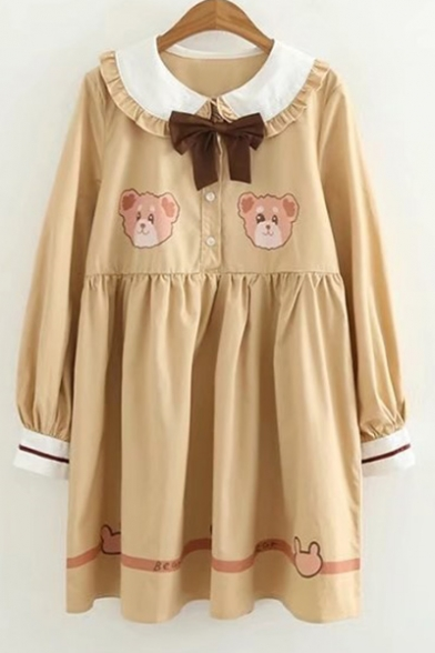 Collared Sleeve Bear Print Front Dress Bow Long Cartoon Lovely 0Sqwx0z