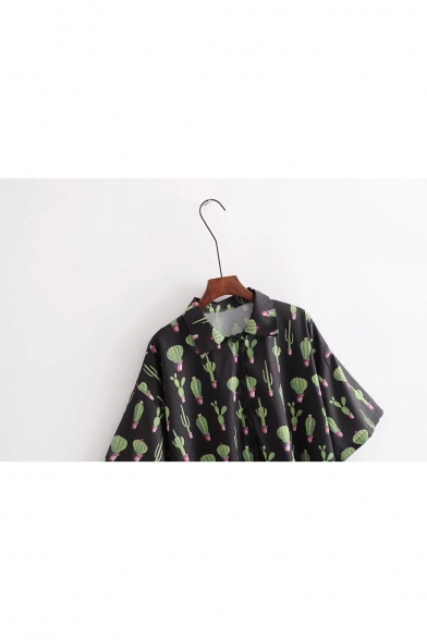 Nifty Cactus Allover Pattern Half Sleeves Button Down Shirt