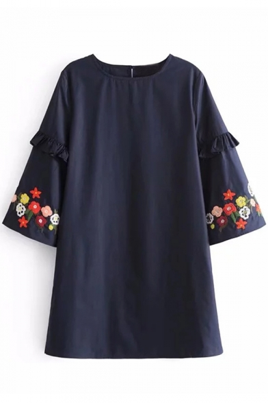 Popular Floral Embroidered Round Neck Ruffle Sleeves Single Button Back Swing Mini Dress