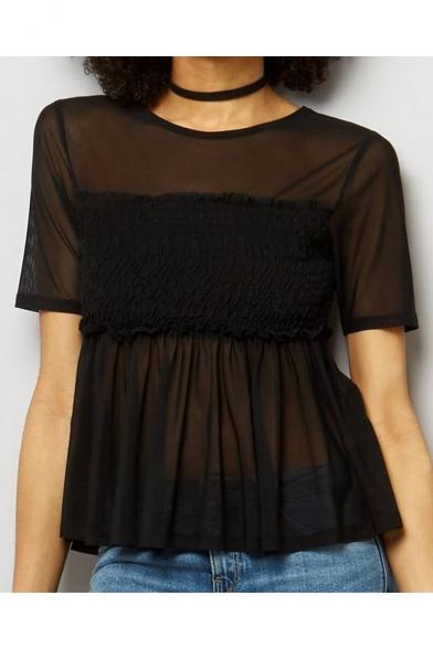Popular Round Neck High Waist Peplum Hem Short Sleeves Patchwork Sheer Blouse LC461547 фото