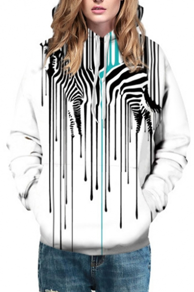 Striped with Hoodie Popular Pullover Printed Sleeves Zebra Long Pocket 7nWw5qPzw