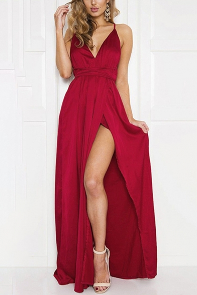 Sexy Plunge Neck Strappy Waist Split Side Open Back Plain Maxi Beach Cami Dress