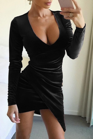 Sexy Simple Plain Wrap Front Asymmetric Hem Long Sleeve Bodycon Dress