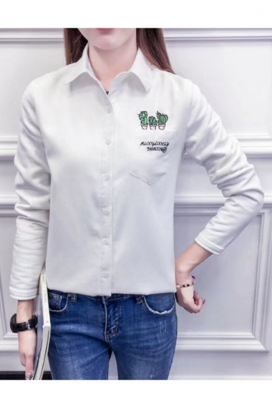 Stylish Cactus Letter Embroidered Point Collar Long Sleeves Button Down Shirt