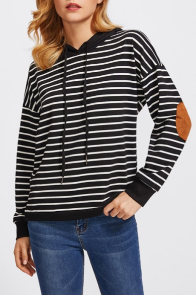 Stylish Striped Pattern Leather Patched Long Sleeves Pullover Hoodie
