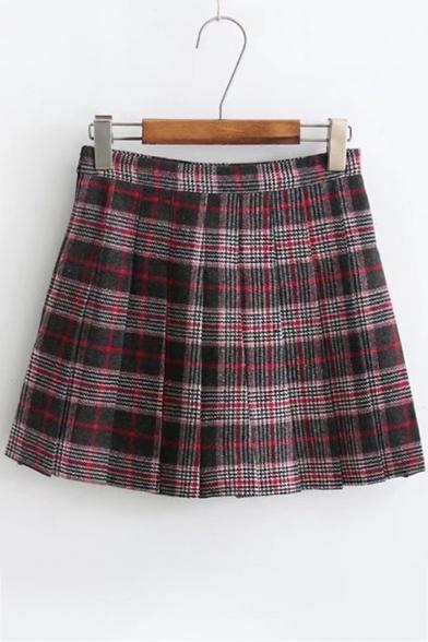 Stylish Tartan Plaids Pattern Mid-Waist Pleated Mini A-line Skirt
