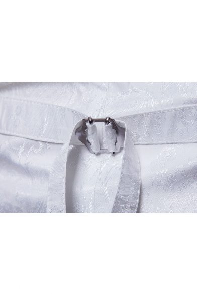 Trendy Double Breasted V-Neck Sleeveless Belted Printed Men's Vest