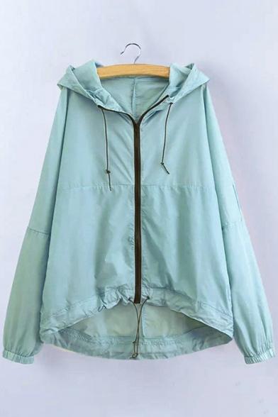 Trendy Plain Drawstring Waist Long Sleeves Zippered Hooded Trench Coat