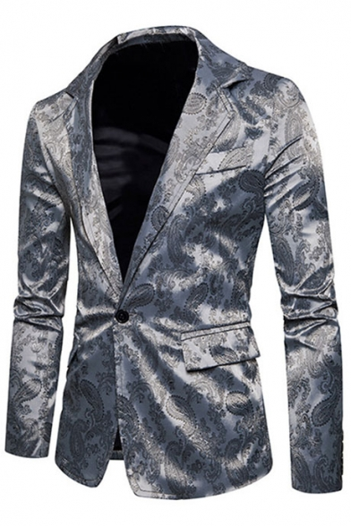 Trendy Printed Notched Lapel Single Button Long Sleeves Flap-Pockets Slim-Fit Blazer