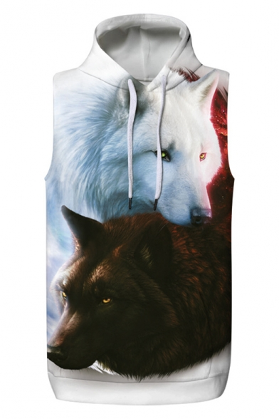 Cool Double Wolves Animal Printed Sleeveless Pullover Unisex Hoodie