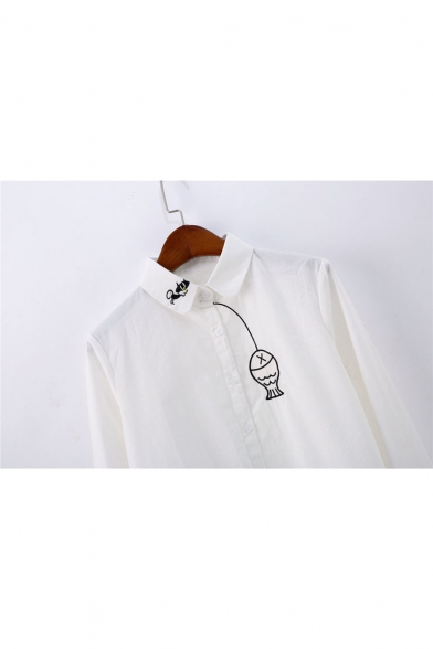 Cute Fish Cat Cartoon Embroidered Long Sleeves Button Down Shirt