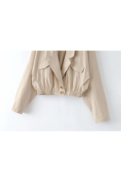 Faux Double Waist with Lapel Buttons Elastic Sleeve Collar Coat Pocket Plain Long rC1vrn6