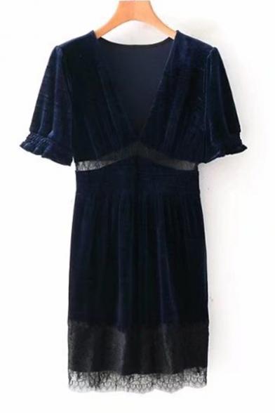 Elegant V-Neck Lace Panel Patchwork Short Sleeves Shift Mini Velvet Dress
