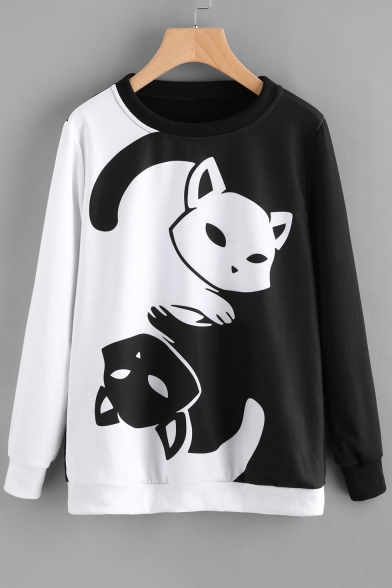 Block Chi Color Cat Monochrome Pullover Long Tai Fancy Printed Sleeves Sweatshirt Cartoon X7wUdq
