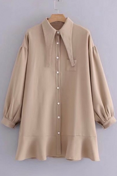 Fashion Plain Collar Button Long Sleeve Ruffle Hem Shirt Dress