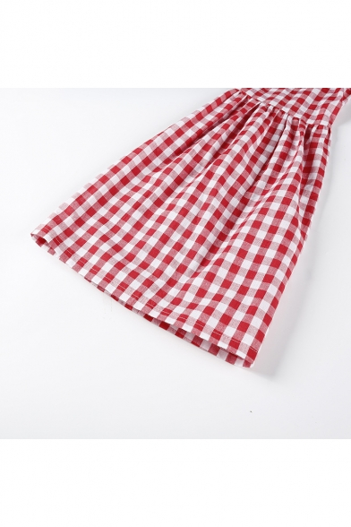 Wide Blouse Girly Hollow Shoulder Gingham Tie Bow Plaids Off the Cutout Back Sleeves qwSqApv7g
