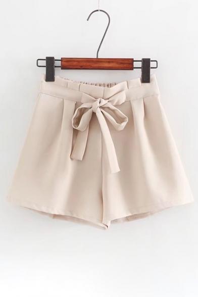 High Elastic Waist Bow Embellished Plain Pleated Cullottes