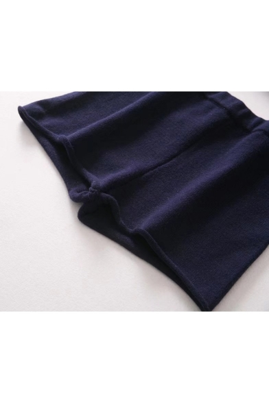 Hot Sale Elastic Waist Simple Plain Knitted Shorts