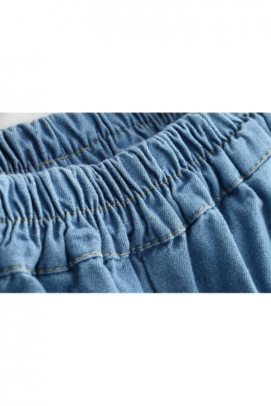 Embroidery Bow Pattern Elastic Waistband Jeans