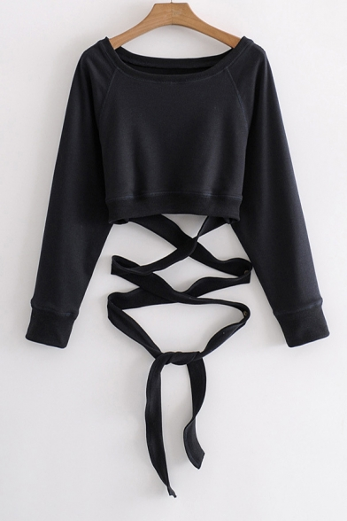 Hot Sale Plain Round Neck Long Sleeve Tie Cropped Pullover Sweatshirt