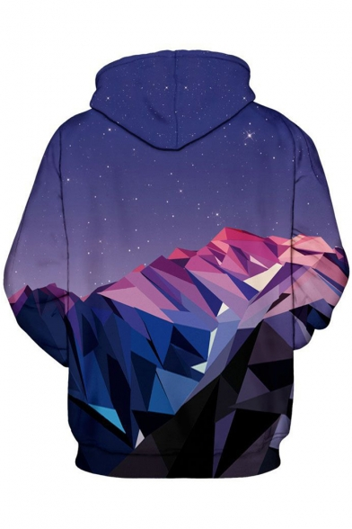 Sleeve Pocket Print Long Couple Starry for Leisure Sky Hoodie nc1qBfc