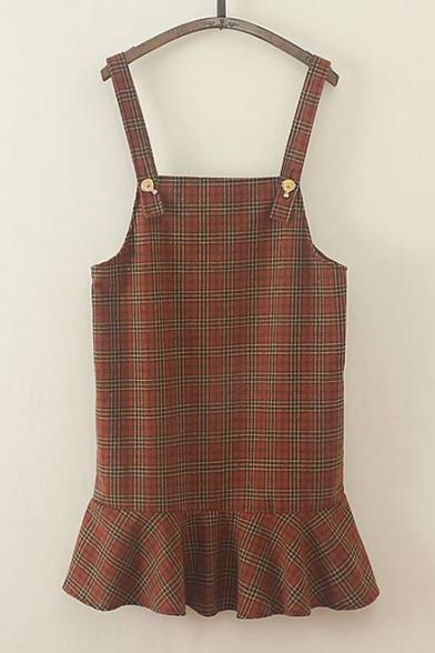 New Stylish Plaid Print Ruffle Hem Overall Dress