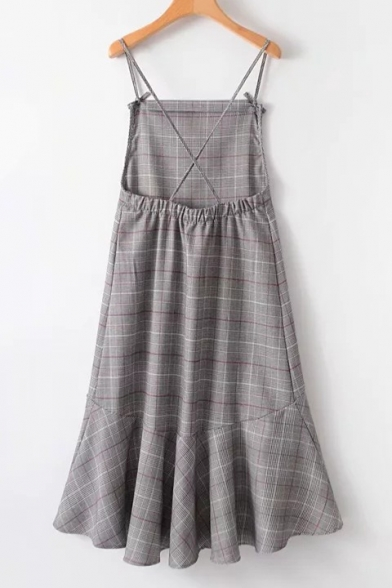 Retro Fashion Bow Spaghetti Straps Flared High Low Hem Checkered Plaids Midi Cami Dress