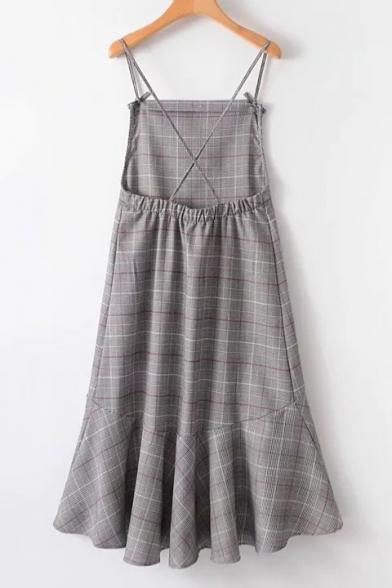 Retro Fashion Bow Spaghetti Straps Flared High Low Hem Checkered Plaids Midi Cami Dress