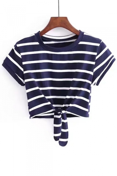 Simple Striped Pattern Round Neck Short Sleeves Summer Bow Tie Front Cropped Tee