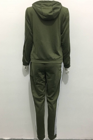 Zippered Hoodie Long Pattern Pants with Striped Sleeves Waist Elastic Sportive pXqIxZAwx
