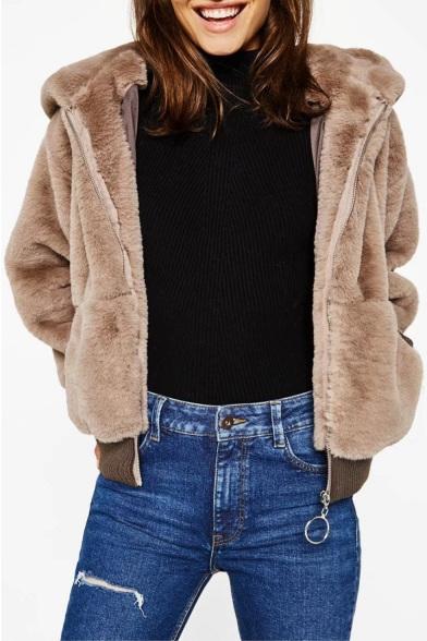 Coat Zipper Stylish Long Fur Plain Faux Sleeve Hooded YFSq0pwx