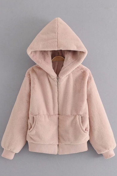 Long Zipper Stylish Hooded Fur Sleeve Plain Faux Coat qzt1wTF