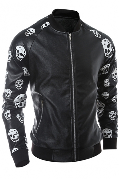 Stylish Skull Printed Slim-Fit Zippered Cool Baseball Jacket with Zipped Pockets