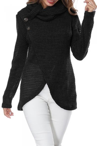Turtleneck Fashion Plain Sweater Detail Pullover Hem Wrap Tulip Button Front Autumn 4qdwv5A4