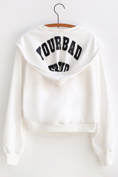 Basic Letter Print Long Sleeve Loose Hoodie with Pocket