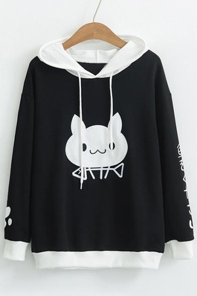 Sleeve Block Cat Japanese Hoodie Long Casual Color Pattern UqPpWOZBZ