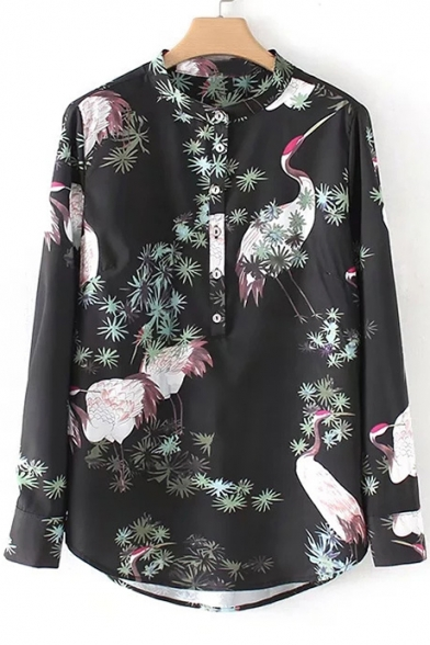 Chic Crane Leaf Print Long Sleeve Stand-Up Collar Button Blouse