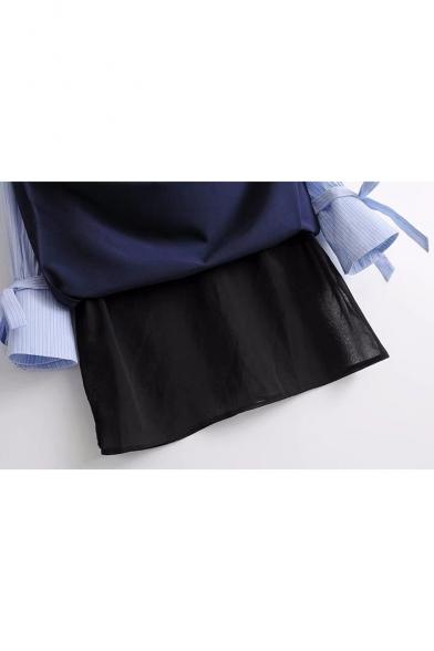 Color Block Lapel Collar Long Sleeve Bow Detail Stripes Shirt Dress