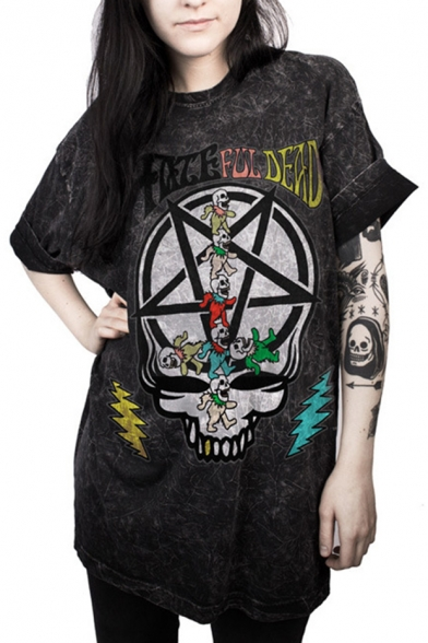Neck Cool Tunic Star Skull Letter Sleeves Round Tee Pattern Short xrPXrH8q