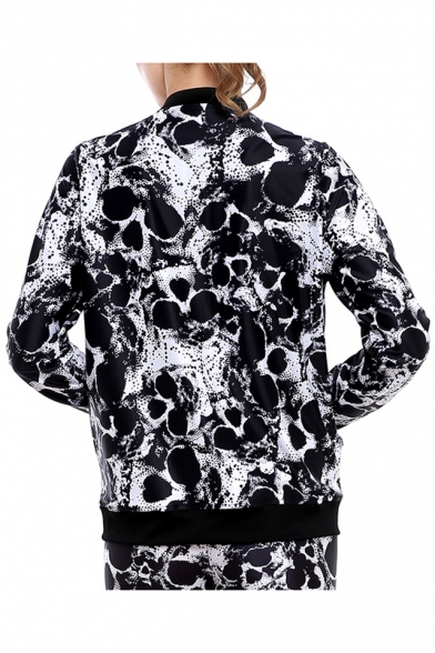 Cool Jacket with Sleeves Monochrome Skull Long Pockets Pattern Zippered HaxprS1wHn