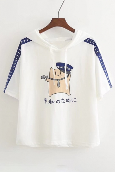 Striped with Cute Tee Loose Cat Japanese Printed Hooded Cartoon Ears Side ZzIqrzx