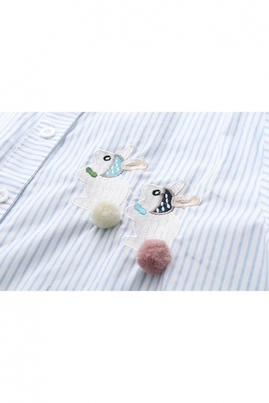 Cute Rabbit Embroidered Striped Pattern Contrast Lapel Long Sleeve Shirt with Pom-Pom