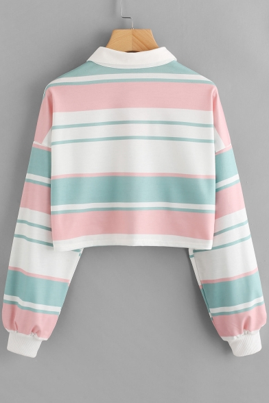 Stripe Lapel with Autumn Buttons Cropped Long Pattern Sleeves Top Tee Spring Cute AqdHFOUqn
