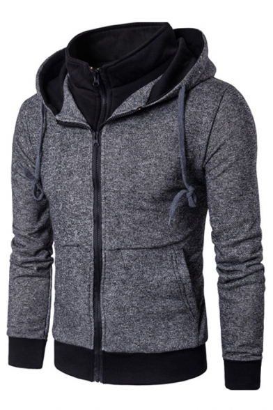 Sleeve Print Long Block Two Color Zipper Fake Hoodie Piece w7nvYqxCBH
