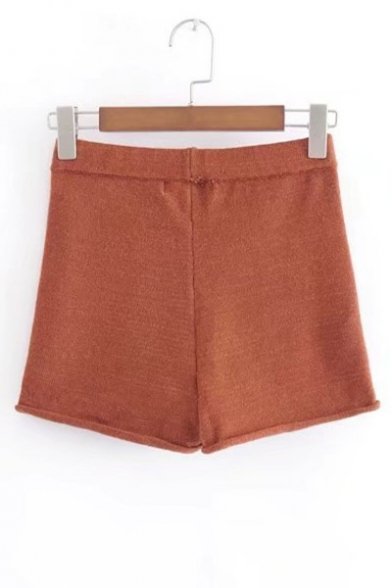 Elastic Waist Simple Plain Knitted Shorts
