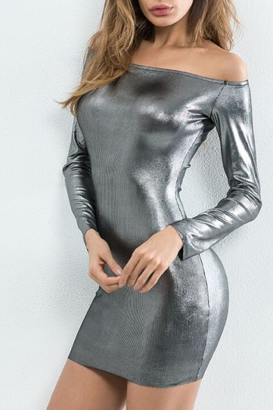 New Stylish Plain Off Shoulder Long Sleeve Bodycon Mini Dress
