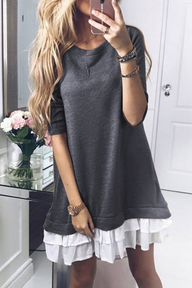Pop Fashion Round Neck Layered Ruffle Hem Color Block Mini Sweatshirt Dress